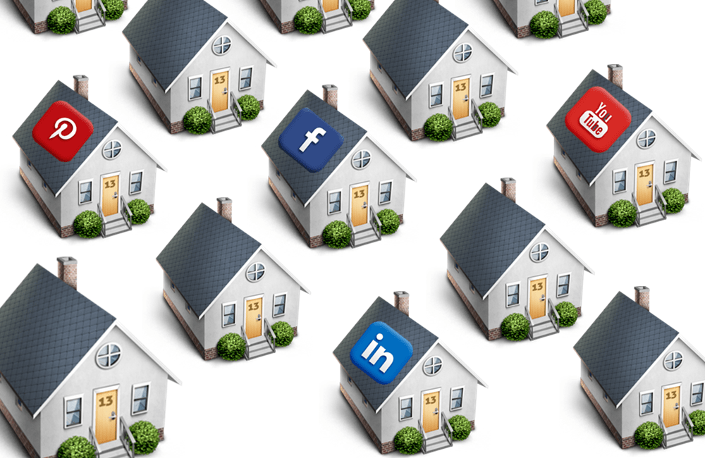 small houses with social media logos
