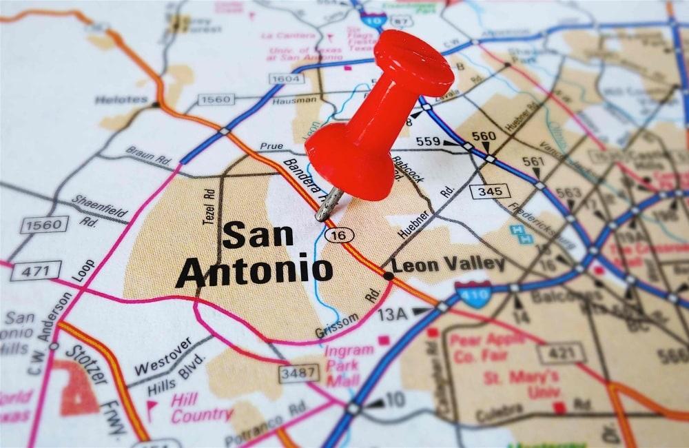 A Map of San Antonio with Thumbtack
